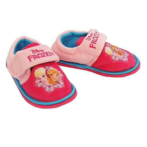 Disney Frozen Anna Elsa Girls Velcro Slippers Slipper Booties Shoes - Pink