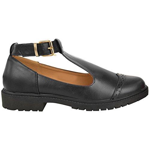 filles femmes école collège habillé CHAUSSURES CONFORT boucle talon bas confortable prise femmes Simili-cuir Noir