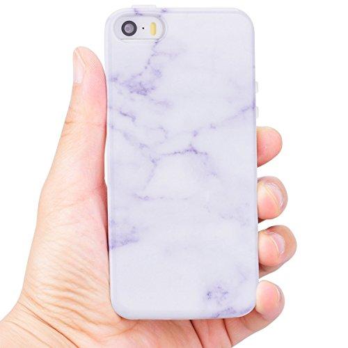 Coque iPhone 5S / SE / 5 (4.0 pouce) , Blanc Marbre TPU Case Silicone Slim Souple Étui de Protection Flexible Soft Cover Anti Choc Ultra Mince Integrale Couverture Motif Design Bumper Caoutchouc Gel A Jade Blanc