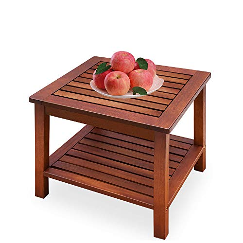 shougui trade Couchtisch Small Wood Light Square Side Bistro Kaffee Snack Gartentisch für Patio Wohnzimmer im Freien, 45 x 45 cm -