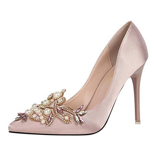 Womens Pointed Toe Court Schuhe Damen Hochzeit Brautjungfer Party Perle Stiletto High Heels Pumps