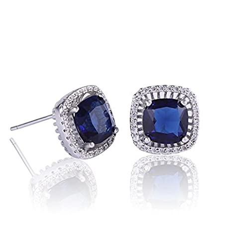 GULICX Fashion Sapphire Color Zircon Square Stone Studs Blue Earrings White Gold Electroplated