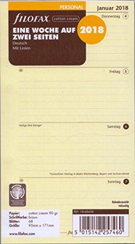 Filofax 000018-68458 Kalender, Personal 1 Woche auf 2 Seiten cotton (D) 2018
