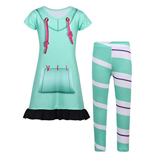 0688e717c dPois Vestido Camiseta Manga Corta para Niñas Disfraz Cosplay Top Vestido +  Leggings a Rayas Conjunto