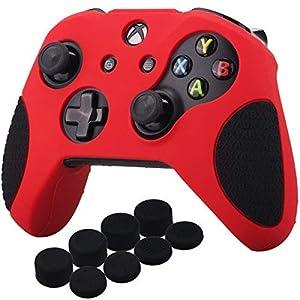 YoRHa Verdickt Gummi Silikon Hülle Skin Taschen 3D-Buchstaben-Massagegriff für Xbox One S / X Controller x 1 (Rot&Schwarz) Mit Daumengriffe Aufsätze Joystick-Kappen Thumb Grip x 8