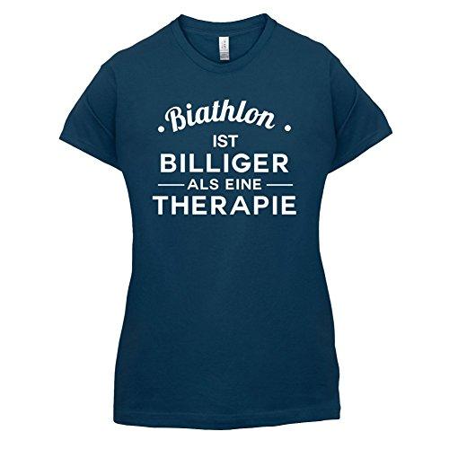 Biathlon ist billiger als eine Therapie - Damen T-Shirt - 14 Farben Navy