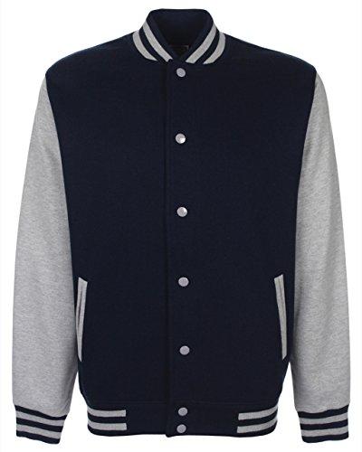 FDM Unisex College-Jacke, kontrastfarbene Ärmel Mehrfarbig - Navy/heather grey