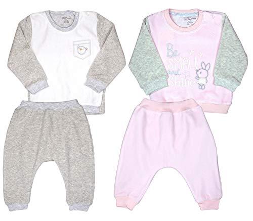 Aziz bebe Babybekleidung Oberteil und Hose Mädchen Jungen Zweiteiliger Anzug Bekleidungssets Babyanzug Neugeboren Fleece Sweatshirt Unisex (62-68, Grau (S 1016))