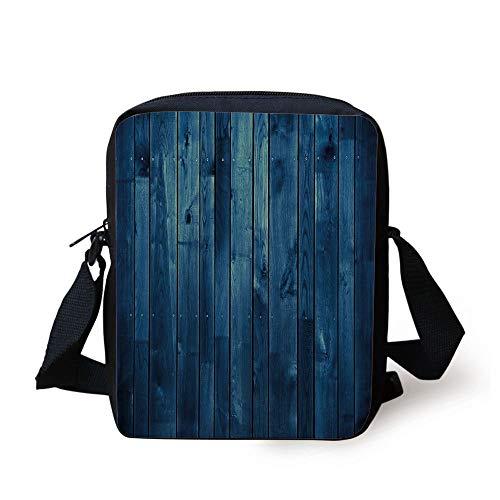 Dark Blue,Wooden Planks Texture Image Boards Floor Wall Lumber Rustic Home Decor,Light Blue Dark Blue Print Kids Crossbody Messenger Bag Purse Prep Board