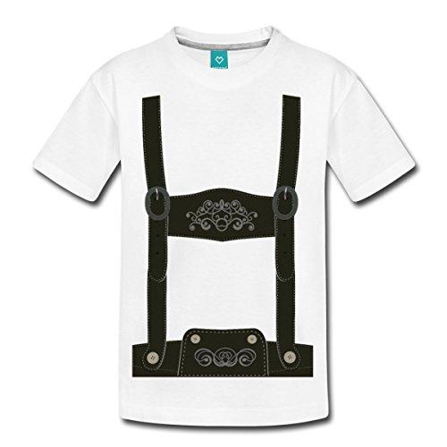 Lederhose Tracht Teenager Premium T-Shirt von Spreadshirt®, 158/164 (12 Jahre), Weiß
