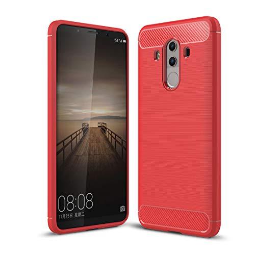 Carbonfaser Design Hülle für Huawei Mate 10 Pro Hülle Komtable Griffigkeit Slim-Fit [Schutz vor Stößen] Weiches TPU-Gel Rutschfestes Gummi [Kratzfest] für Huawei Mate 10 Pro Hülle (Red)