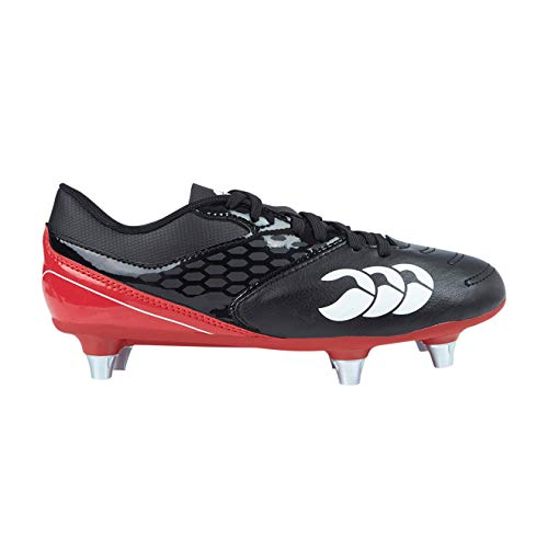 Canterbury of New Zealand Unisex-Kinder Phoenix Raze Soft Ground Rugbyschuhe, Schwarz (Black/True Red 989), 36.5 EU