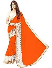 G Stuff Fashion Women Georgette saree With Blouse Piece_saree_orange_Emb_saree