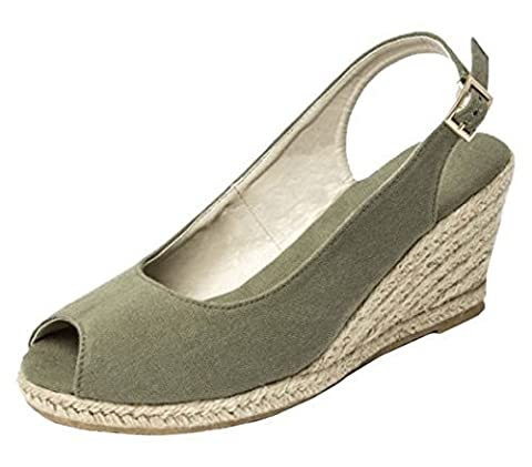 Womens Ladies Slingback Espadrille High Wedge Heel Peeptoe Summer Sandals