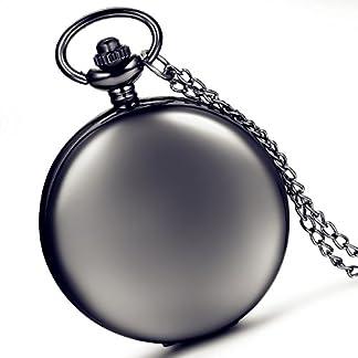 Weihnachten-LANCARDO-glatt-Metall-schwarz-Fall-Wei-Zifferblatt-arabische-Ziffern-Moderne-Taschenuhr-mit-Kette-schwarz