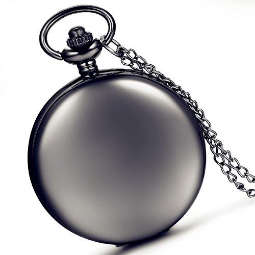 LANCARDO glatt Metall schwarz Fall Weiß Zifferblatt arabische Ziffern Moderne Taschenuhr mit Kette (schwarz)
