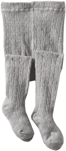 Jefferies Socks Little Girls' Cable Tight, Grey Heather, 10-14 Years
