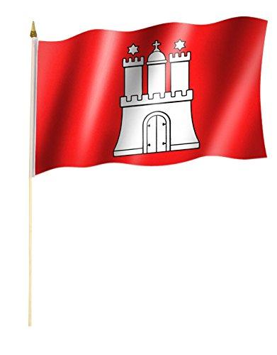 Stockflagge/Stockfahne HAMBURG Flagge/Fahne ca. 30 x 45 cm mit ca. 60cm Stab/Stock