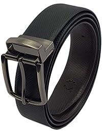 Belt for Men Women PU Leather Black / Brown Reversible Formal Casual Free Size with Buckle Genuine Color Belts Adjustable Waist (Fits Boys & Men)