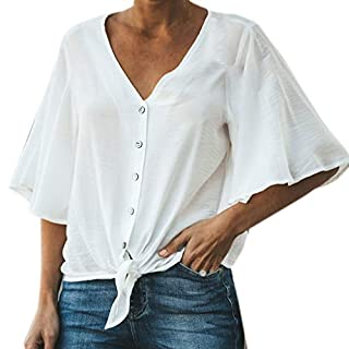 BaZhaHei Women's Fashion Solid Blouse Shirt Half Sleeve V-Neck Tunic Tops Button T-Shirt Loose Tee Jumper Shirts White