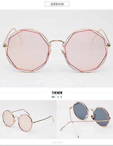 Sonnenbrille Metall Rundschreiben Gravur Kröte Spiegel Personalisierte Farbe Film Sonnenbrille, C4 Gold Pulver Quecksilber (Gold Quecksilber)