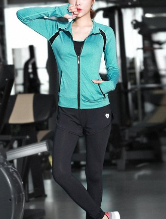 Beatayang Femme Ensemble de Sport Gym Yoga Suit Fitness Jogging Soutien-gorge Sans Armature Survêtement Leggings Pantalon + Bra + Vestes 1017bleu