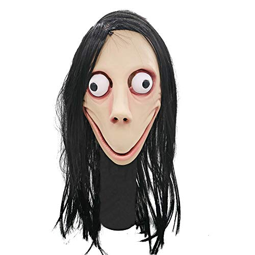 Sanmubo gruselige Momo-Maske No Bang Style Scary Maske Seeschwalbe Halloween Geister Perücke Maske Scary Momo Herausforderung Spiele Böse Latexmaske mit langem Haar Halloween-Kostüm Party (Als Herausforderung Kostüm)