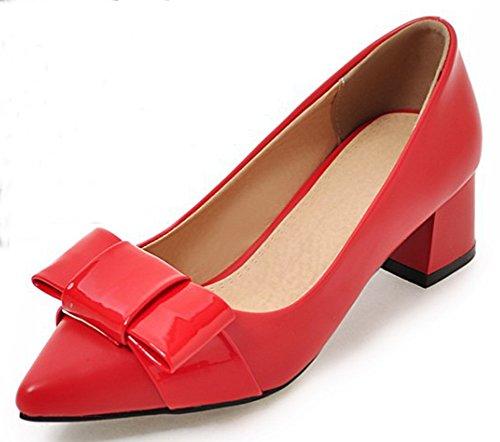 Talon Femme Rouge Escarpins Papillon Bloc Aisun Confortable Moyen Nœud PpICwACqx