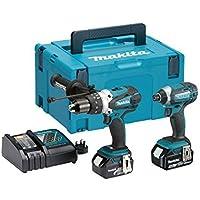Maktia DLX2145TJ 18V Li-ion Combi Drill and Impact Driver Kit 2 x 5.0Ah Batteries by Makita