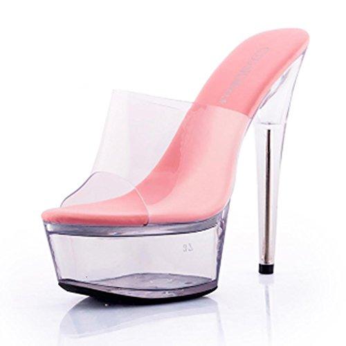 W&LMTrasparente Scarpe di cristallo sandali Piattaforma impermeabile Spessore inferiore sandali Tacchi alti Pantofole da portare all'aperto Posto di lavoro Sala da ballo Pink