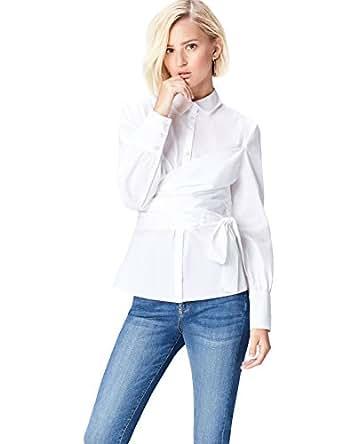 FIND Camicia a Portafoglio Donna, Bianco (Weiß), 40 (Taglia Produttore: X-Small)