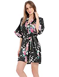 Kimono Mujer Batas, Bata de Satén Estampado Floral Vestido Kimono Ropa de Dormir 3/