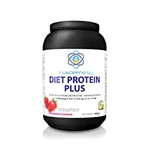 Muscleenergy Strawberry Diet Shake, DIET PROTEIN PLUS High Protein with 5 Fat Burners CLA, Acia Berry and Green Tea, Superlean Gym Supplement or Meal Replacement by Muscleenergy