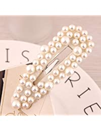 RONSHIN Women Simple Delicate All-Match Pearl Bead Metal Hair Clip