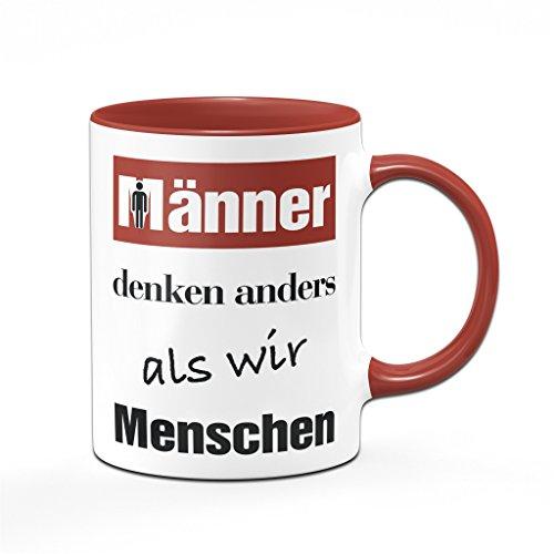 Bürotasse Männer denken anders als wir Menschen - Kaffeetasse - Tasse rot - Sprüchetasse