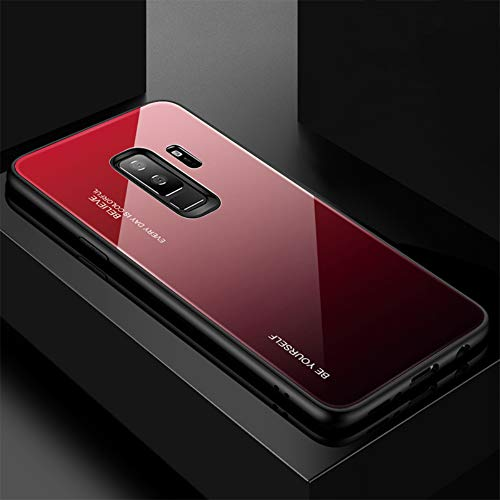 Fantasyqi Handyhülle Kompatibel mit Galaxy S9 / Galaxy S9 2018 Hülle + Kostenlos Schutzfolie [Ultra Hybrid Silikon TPU mit Gradient 9H Panzerglas] 9H Gehärtetem Marmor Glas Rückseite mit TPU Rahmen -