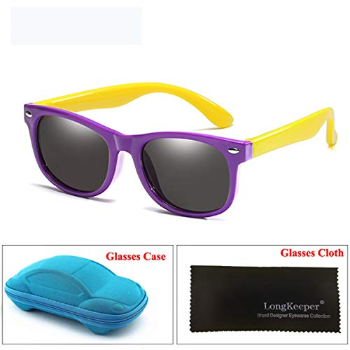 FGRYGF-eyewear Sport-Sonnenbrillen, Vintage Sonnenbrillen, Mirror Kids Sunglasses With Case Boys Girls Polarized Silicone Safety Sun Glasses Gift For Children Baby UV400 Gafas Purple Yellow