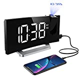 Mpow Projection Alarm Clock with 5-inch LED Curved Screen, Adjustable Brightness for Screen