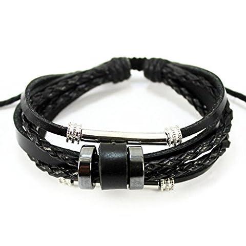 Plus de Fun Unique double tube métallique et anneau Noir en corde tressée Cuir réglable Bracelet