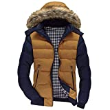 Xmiral Men Daunenjacke Casual Warme Kapuze Winter Patchwork Zipper Outwear Jacke (S,Gelb)