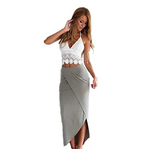 con Crop Tops und rock damen slim kleid set (M, Grau) (Größe 26 28 Damen Kostüme)