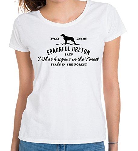 Siviwonder Vintage What Happen Logo Epagneul Breton Vintage What Happen Hund Hunde Brittany Spaniel - Women Girlie T-Shirt Weiß XL - 40 (Brittany Spaniel-weiß T-shirt)