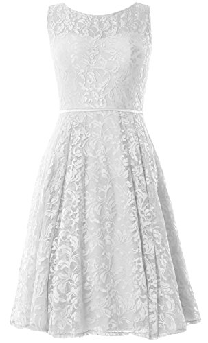 MACloth Women Lace Cocktail Dress Vintage Knee Length Wedding Party Formal Gown white