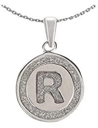 Ananth Jewels 925 Silver Letter R BIS Hallmarked Pendant With Chain For Men And Women