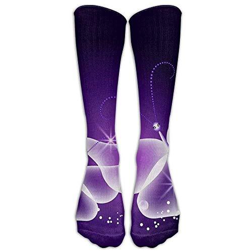Gped Kniestrümpfe,Socken Long Colorful Butterfly Print Socks Women's Winter Vintage Cotton Wool Knit Long Crew Socks Length 50CM