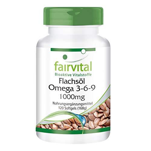 Flachsöl Leinöl Kapseln Omega-3-6-9 - für 2 Monate - kaltgepresst - 120 Softgels - reich an Alpha-Linolensäure