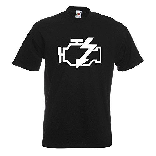 KIWISTAR - Motorkontrollleuchte T-Shirt in 15 verschiedenen Farben - Herren Funshirt bedruckt Design Sprüche Spruch Motive Oberteil Baumwolle Print Größe S M L XL XXL Schwarz