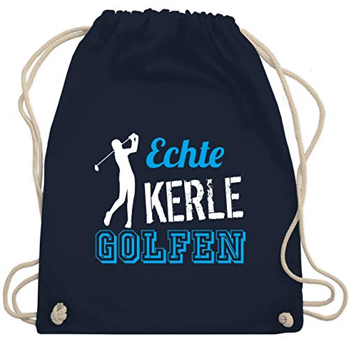 Golf - Echte Kerle golfen - Unisize - Navy Blau - WM110 - Turnbeutel & Gym Bag (Golf Tasche Steht)