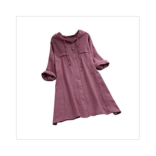 Cotton Linen Womens Tops and Blouses Vintage Long Sleeve Button Solid Hooded Long Shirt Casual Plus Size Female Clothes Purple XXXL Jovani Cocktail