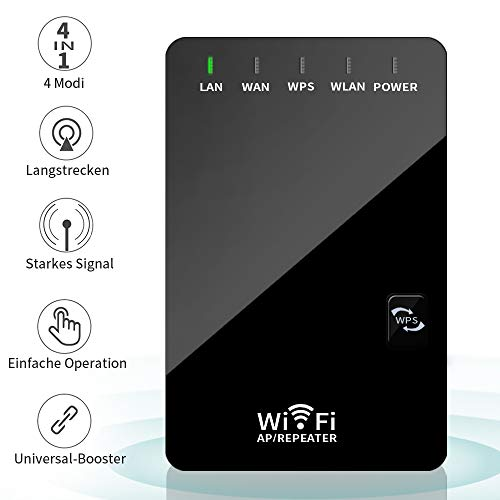 H&L WLAN Router Repeater Verstärker, Network Wi-fi Signal Range Router Extender Verstaerker 300 Mbit/s 2,4 GHz, 4 IN 1 Wireless Access Point 2 Ethernet Anschluss, Router/Repeater/AP/Client Modus -